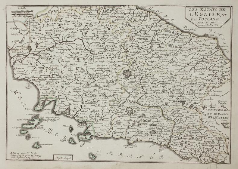 [TOSCANE & ROME] Les Estats de l'Eglise, et de Toscane.. FER (Nicolas de).