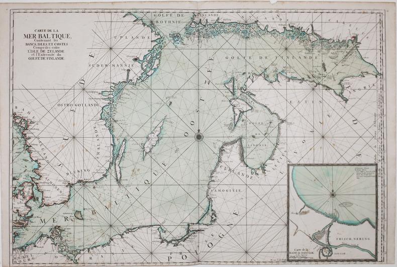 [MER BALTIQUE/SCANDINAVIE] Carte de la mer Baltique, contenant les bancs, isles et costes comprises entre l'isle de Zélande et l'extrémité du golfe ...