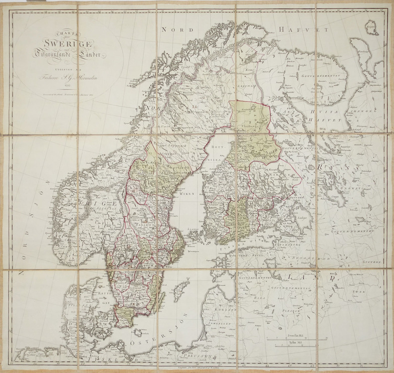 [SUEDE] Charta öfwer Swerige med Tilgränsande Länder.. HERMELIN (Samuel Gustav).