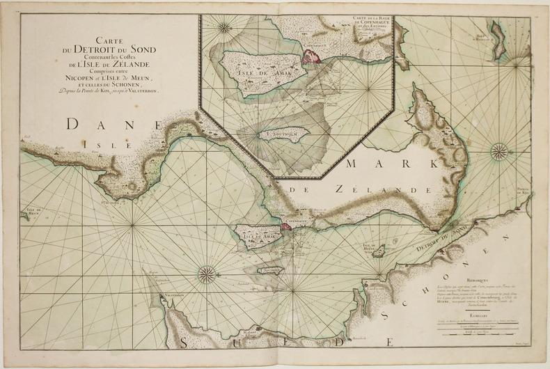 [DANEMARK] Carte du détroit du Sond contenant les costes de l'isle de Zélande comprises entre Nicopen et l'isle de Meun, et celles du Schonen, depuis ...