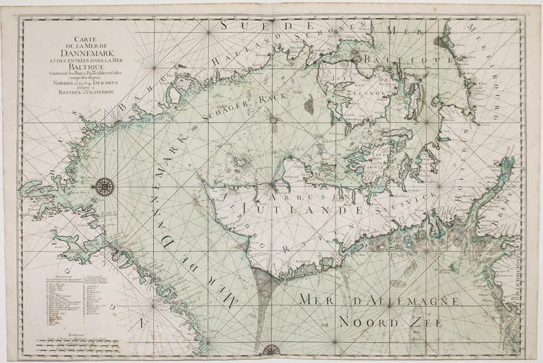 Carte de la mer de Dannemark et des entrées dans la mer Baltique contenant les bancs, passes, isles et costes comprises depuis Norden et le cap ...