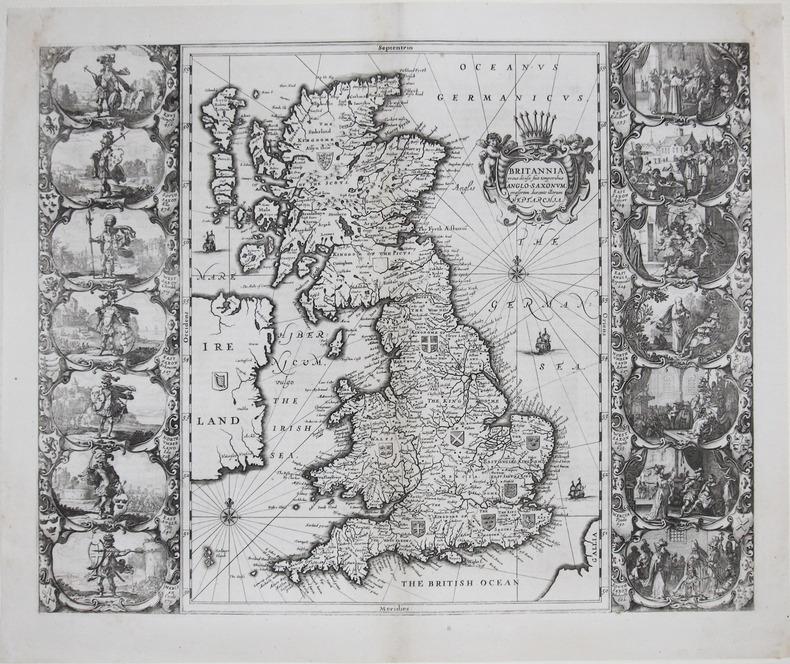 Britannia prout divisa fuit temporibus Anglo-Saxonum, præsertim durante illorum Heptarchia.. JANSSON (Johannes).