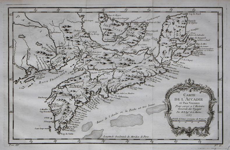 Carte de l'Accadie et pais voisins.. BELLIN (Jacques-Nicolas).