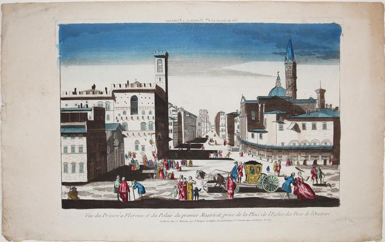 [FLORENCE] Vue du Prieuré à Florence et du palais du premier magistrat, prise de la place de l'église des Pères de l'Oratoire.. CHÉREAU (Jacques).