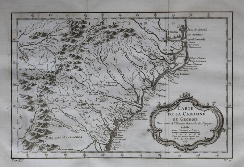 Carte de la Caroline et Géorgie.. BELLIN (Jacques-Nicolas).