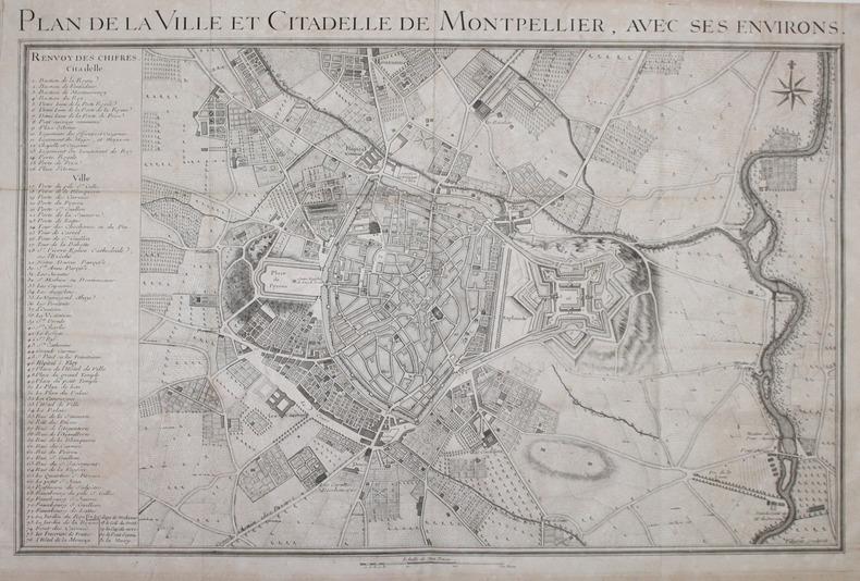 [MONTPELLIER] Plan de la ville et citadelle de Montpellier, avec ses environs.. VILLARET (Jean).