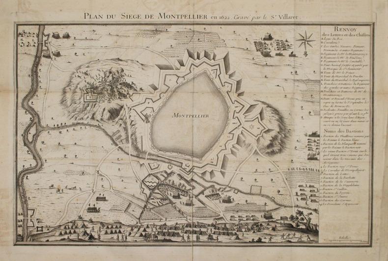 [MONTPELLIER] Plan du siège de Montpellier en 1622, gravé par le Sr. Villaret.. VILLARET (Jean).