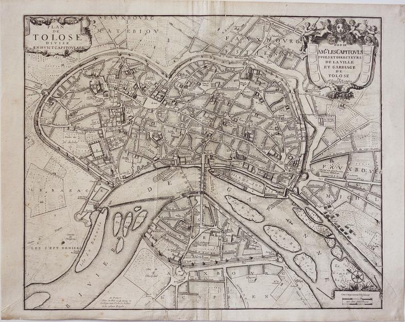 [TOULOUSE] Plan de Tolose divisé en huict capitoulats.. JOUVIN de ROCHEFORT (Albert).