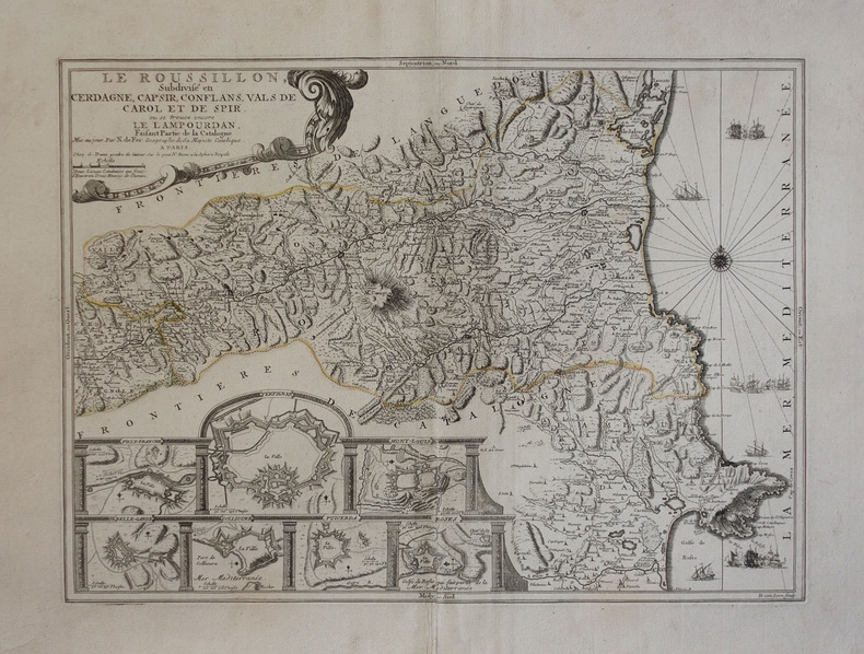 Le Roussillon, subdivisé en Cerdagne, Cap Sir, Conflans, Vals de Carol et de Spir, où se trouve encore le Lampourdan, faisant partie de la Catalogne.. ...