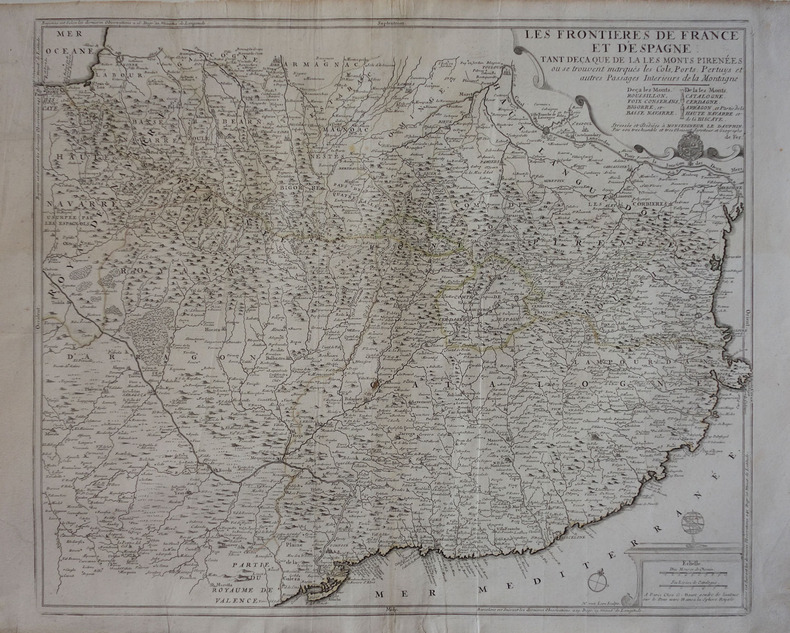 Les frontières de France et d'Espagne, tant deça que de là les Monts Pirénées.. FER (Nicolas de).