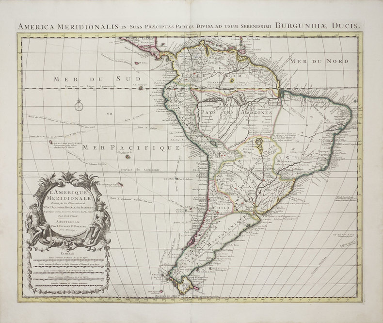 L'Amérique méridionale - America meridionalis in suas præcipuas partes divisa, ad usum serenissimi Burgundiæ Ducis.. L'ISLE (Guillaume de).