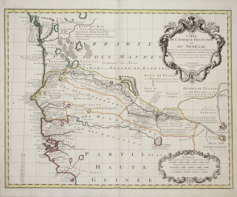 [SENEGAL] Carte de l'Afrique françoise ou du Sénégal.. L'ISLE (Guillaume de).