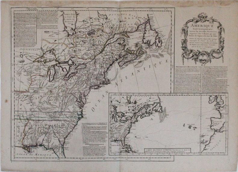 Amérique septentrionale suivant les nouvelles découvertes, augmenté des collonies qui sont derrière la Virginie et du cour de l'Ohio.. JEFFERYS ...