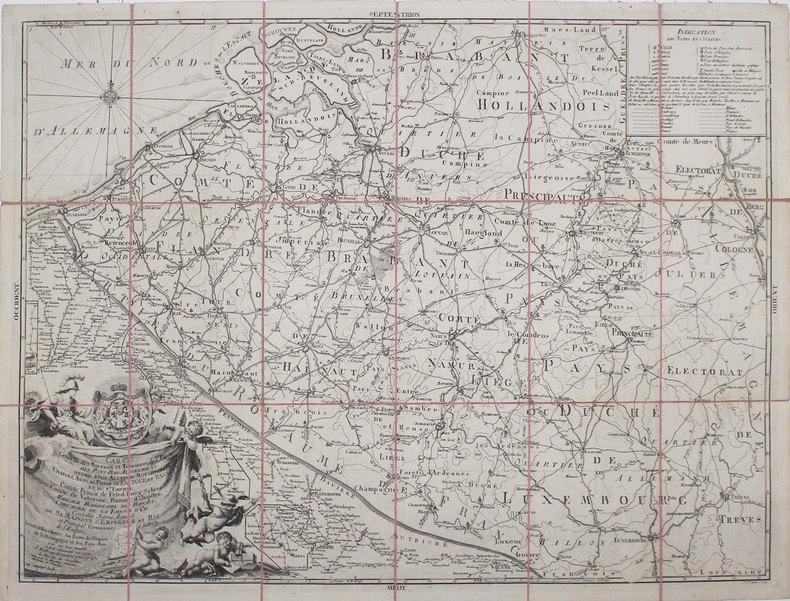 [POSTES] Carte générale des bureaux et ténances des postes des Pays-Bas-Autrichiens.. BOUGE (Jean-Baptiste de).