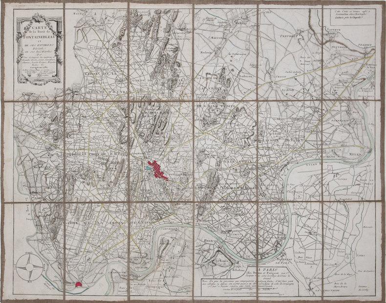 [FORÊT de FONTAINEBLEAU] Carte de la forest de Fontainebleau et de ses environs divisée en ses huit gardes.. DENIS (Louis) & PASQUIER (Jacques-Jean).