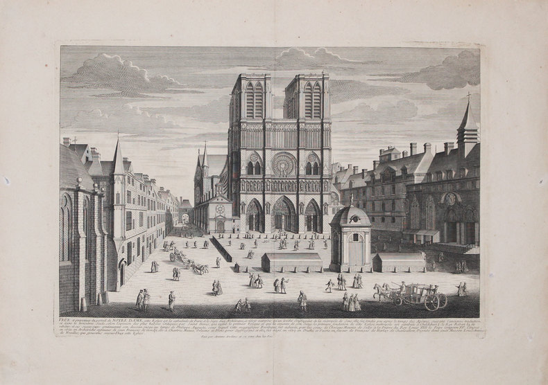 Veûe et perspectives du portail de Notre Dame.. AVELINE (Antoine).