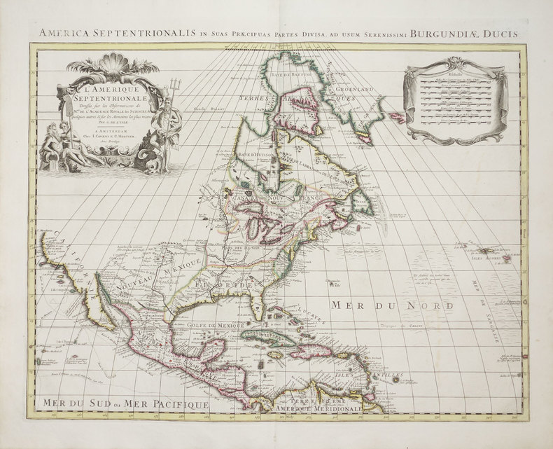 L'Amérique septentrionale - America septentrionalis in suas præcipuas partes divisa, ad usum serenissimi Burgundiæ Ducis.. L'ISLE (Guillaume de).