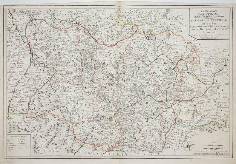 La Province d'Auvergne divisée en Haute et Basse. La généralité de Riom où sont les élections de Riom, Clermont, Issoire, Brioude, S. Flour, et ...