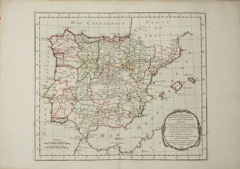 [POSTES] Carte générale de toutes les routes de postes qui traversent l'Espagne.. RIZZI-ZANNONI (Giovanni Antonio).