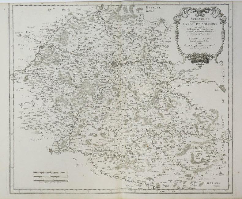 [SOISSONS] Suessones. Evesc.hé de Soissons où sont les balliages et eslections de Soissons, Chasteau Thierry et Crespy en Valois &c.. SANSON ...