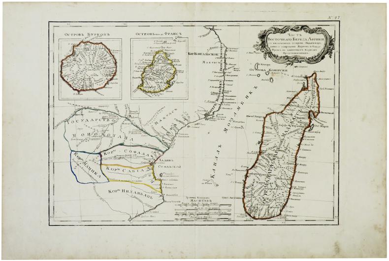 [REUNION-MAURICE-MADAGASCAR] [Partie de la côte orientale d'Afrique avec l'île de Madagascar et les îles de France et de Bourbon].. BONNE (Rigobert).