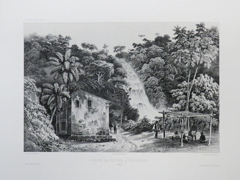 [BRESIL] Cascade de Tijouka à Rio-Janeiro. Brésil.. VAILLANT (Auguste-Nicolas).