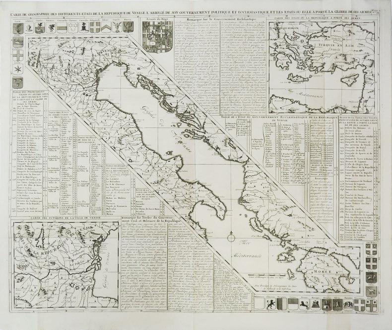 Carte de géographie des différents états de la République de Venise.. CHATELAIN (Henry Abraham).