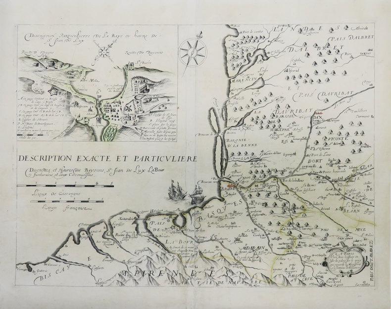 [PAYS BASQUE] Description exacte et particulière des costes et havres de Bayonne, St. Jean de Lux, Labour, Funtarabie, et lieux circonvoisins.. ...