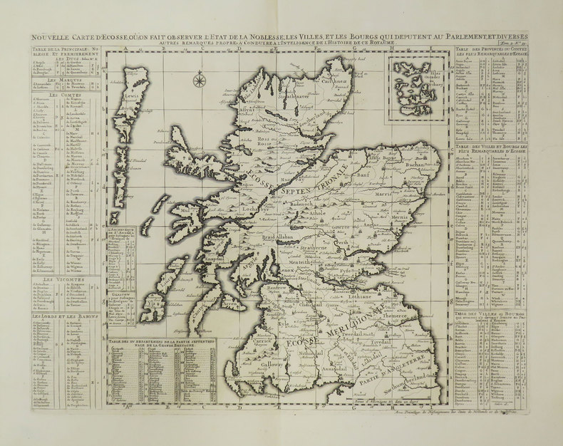 [ECOSSE] Nouvelle carte d'Ecosse, où l'on fait observer l'état de la noblesse, les villes, et les bourgs qui députent au Parlement.. CHATELAIN (Henry ...