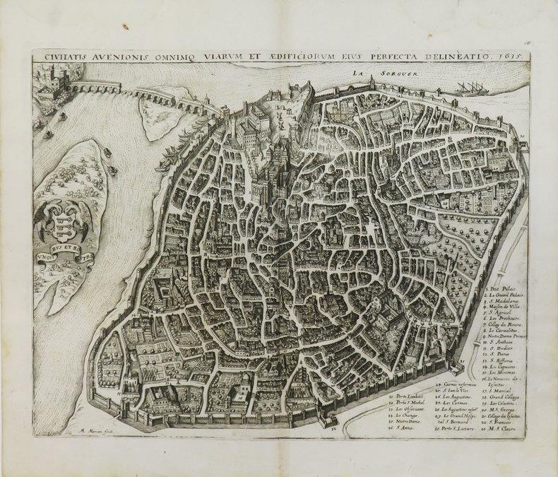 [AVIGNON] Civitatis Avenionis omnimq viarum et ædificiorum eius perfecta delineatio 1635.. MERIAN (Matthäus).