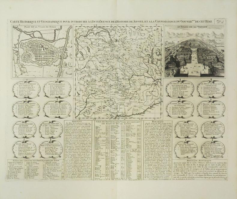 [TURIN] Carte historique et géographique pour introduire à l'intelligence de l'histoire de Savoye, et à la connoissance du gouver.ment de cet état.. ...