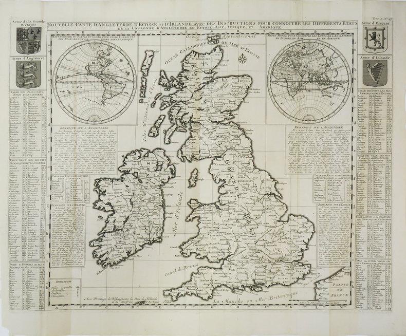 Nouvelle carte d'Angleterre, d'Ecosse et d'Irlande, avec des instructions pour connoitre les différents états de la Couronne d'Angleterre en Europe, ...