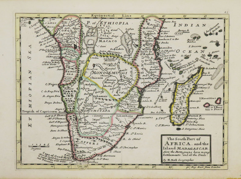 [AFRIQUE MÉRIDIONALE] The south Part of Africa and the island Madagascar. Here the Portugueze have many settlements and all the trade.. MOLL (Herman).