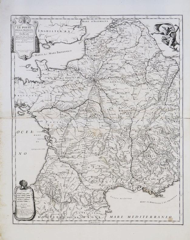 [POSTES] Le Poste della Francia con le sue strade principali.. ROSSI (Domenico de).