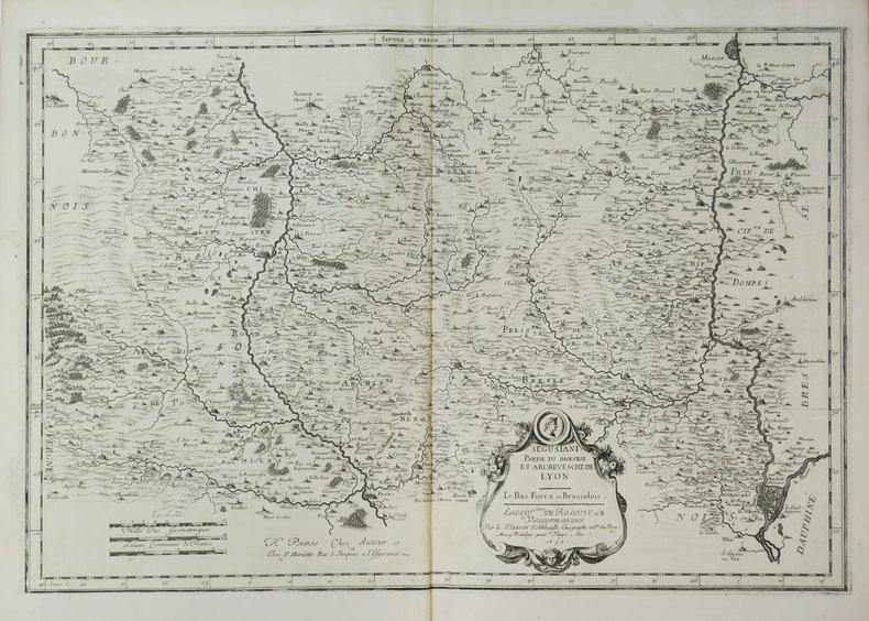 [ROANNE/VILLEFRANCHE-sur-SAÔNE] Segusiani. Partie du diœcèse et archevesché de Lyon. Le Bas Forez et Beaujolois.. SANSON d'ABBEVILLE (Nicolas).
