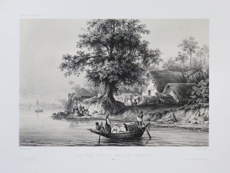 [BENGALE] Vue prise sur les bords de l'Hougly. (Inde).. VAILLANT (Auguste-Nicolas).