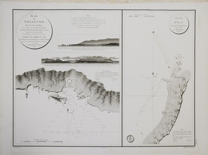 [PÉROU] Plan de Mollendo sur la côte du Pérou - Plan d'Ilo sur la côte du Pérou.. DÉPÔT GÉNÉRAL DE LA MARINE.