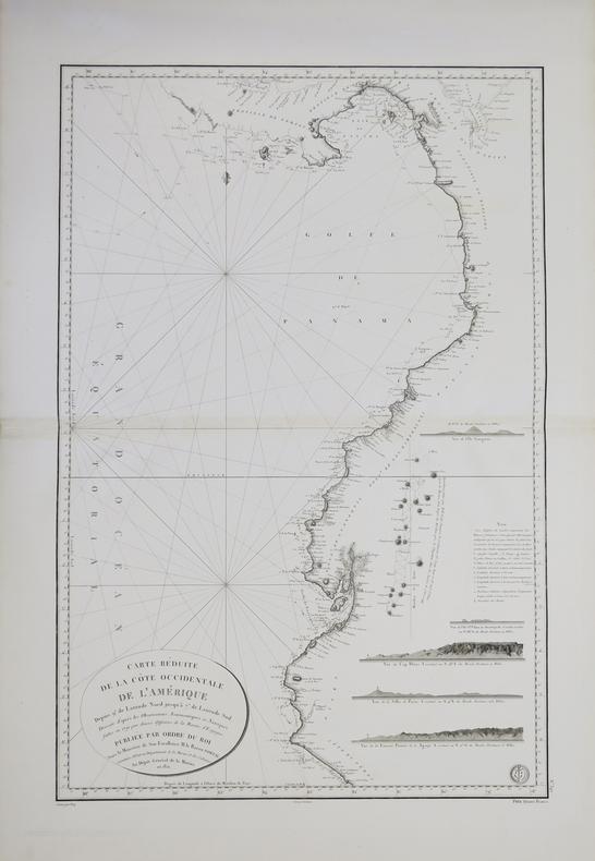 [COSTA RICA/PANAMA/PÉROU] Carte réduite de la côte occidentale de l'Amérique depuis 9.° de latitude nord jusqu'à 7.° de latitude sud.. DÉPÔT GÉNÉRAL ...