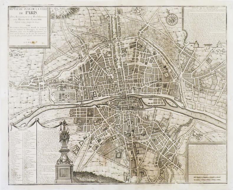 Septième Plan de la ville de Paris, son acroissement et ses embelissemens sous Henry IIII et Louis XIII, depuis 1589 jusqu'en 1643.. FER (Nicolas de).
