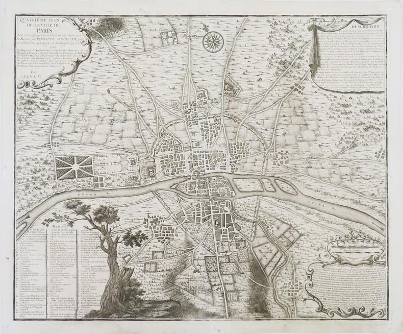 Quatriême Plan de la ville de Paris, son accroissement, et l'état où elle êtoit sous le règne de Philippe Auguste, qui mourut l'an 1223 après avoir ...