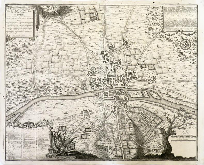 Troisième Plan de la ville de Paris, son êtendüe et les bourgs dont elle êtoit environnée sous le règne de Loüis le Jeune VIIe du nom.. FER (Nicolas ...