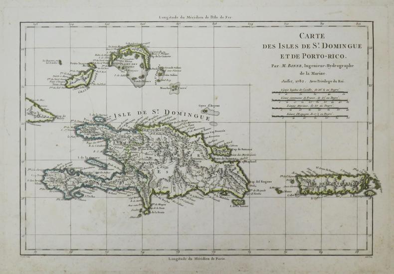 [PORTO-RICO/SAINT-DOMINGUE] Carte des isles de St. Domingue et de Porto-Rico.. BONNE (Rigobert).