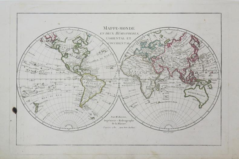 Mappe-monde en deux hémisphères, l'oriental et l'occidental.. BONNE (Rigobert).