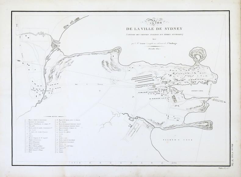 [AUSTRALIE/SYDNEY] Plan de la ville de Sydney (capitale des colonies anglaises aux Terres Australes).. FREYCINET (Louis-Claude Desaulses de).