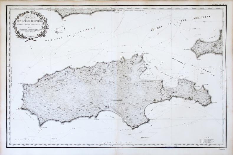 [AUSTRALIE/KANGAROO ISLAND] Carte de l'île Decrès, (à la Terre Napoléon, Nouvelle Hollande).. FREYCINET (Louis-Claude Desaulses de).