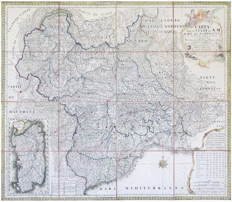 Carta degli stati di S.M. il Re di Sardegna e parte de paesi ad essi confinanti rettificata nella Regia Topografia.. CAROLI (Francesco de).