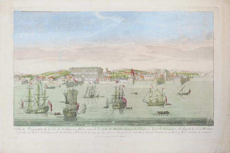 [BOMBAY/MUMBAI] Vista en perspectiva de la isla de Bombay en Africa, cerca de la costa de Malabar, Reyno de Visapour, baxo la dominacion del Rey de la ...