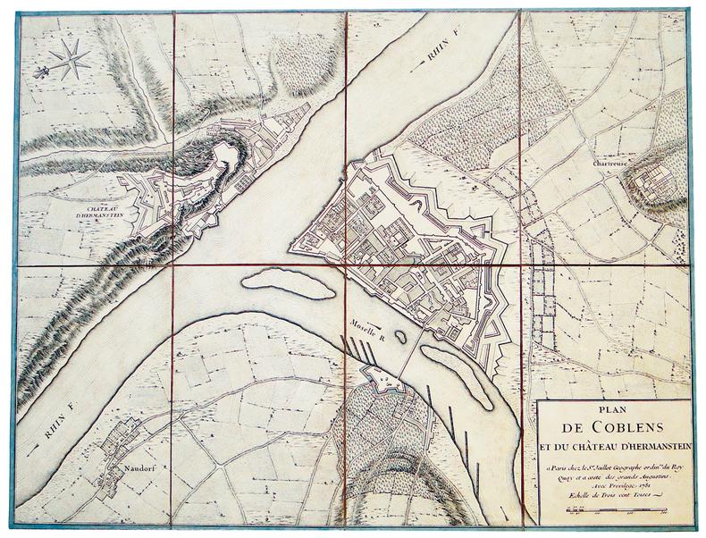 [COBLENCE] Plan de Coblens et du château d'Hermanstein.. JAILLOT (Alexis-Hubert).