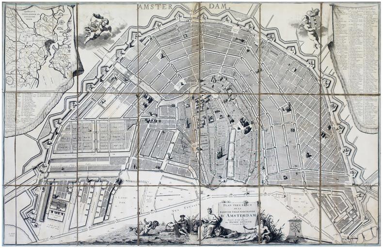 [AMSTERDAM] Plan très exact de la fameuse ville marchande d'Amsterdam.. LETH (Hendrik de).