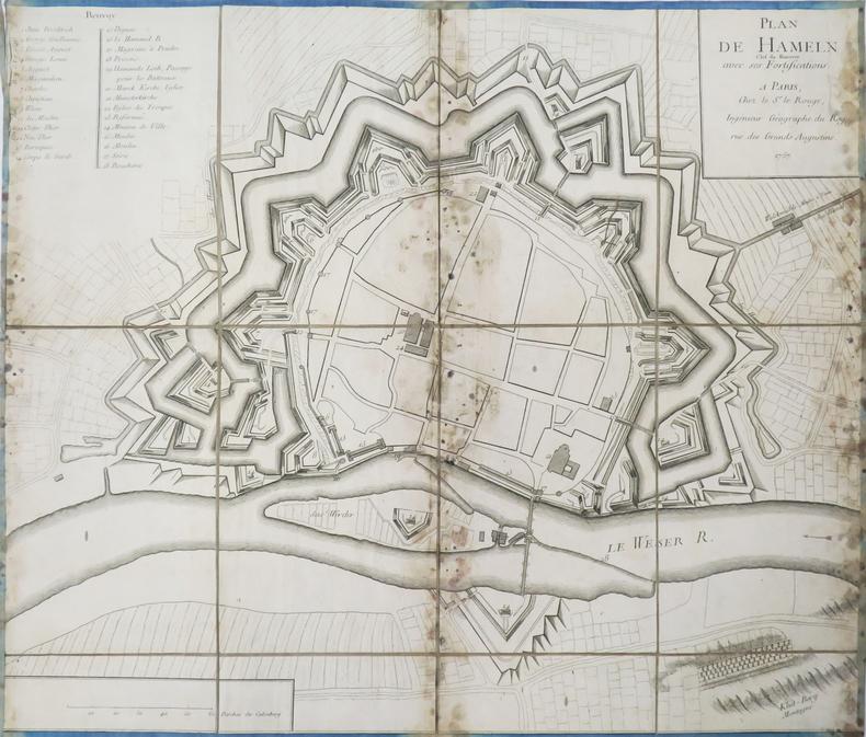 [HAMELN] Plan de Hameln clef du Hanover, avec ses fortifications.. LE ROUGE (Georges-Louis).